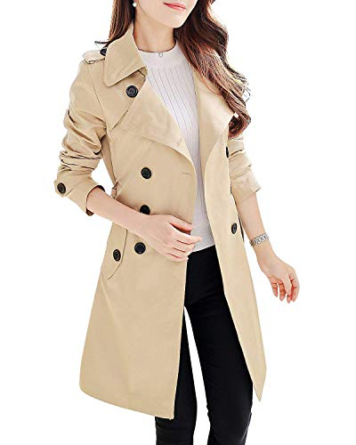 FARVALUE Women's Double Breasted Trench Coat Mid-Length Classic Belted Lapel Overcoat Khaki X-Large (Women Trench Coat Beige)