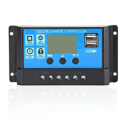 Solar Charge Controller,PWM Solar Panel Battery Intelligent Regulator Dual USB Port Multi-Function Street Light Controller Auto Paremeter Adjustable LCD Display (12V,10A/20A/30A)
