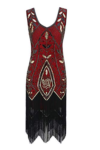 Metme Women's 1920s Vintage Flapper Fringe Beaded Great Gatsby Party Dress Red Gold