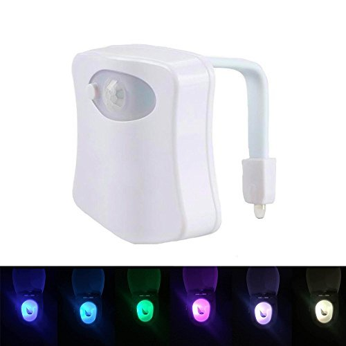Toilet Night Light - 8 Colors LED Motion Activated Sensor Nightlight in Darkness (1 Pack)