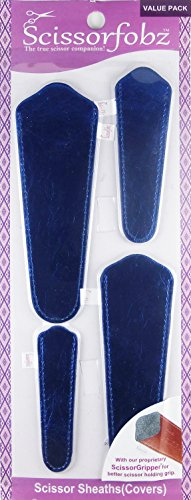Scissors by SCISSORFOBZ with ScissorGripper -Value Pack-4 Sizes- Designer Scissor sheaths Covers Holders for Embroidery Sewing Quilting - Quilters sewers Gift -Metallic Royal Blue. #69