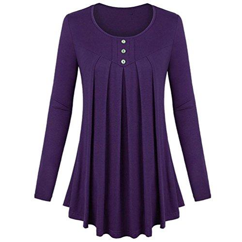 Plus Size Tops,Goddessvan Women Solid Row Pleats Long Sleeve Single-Breasted T-Shirt Top Blouse (Purple, 2XL)