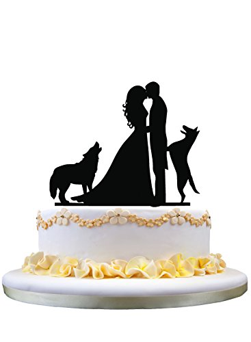 zhongfei Wedding Cake Topper Silhouette Couple Kissing with Two Dogs Cake Decoration