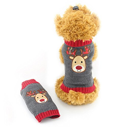 Christmas Dog Clothes, AMA(TM) Pet Dogs Cat Doggie Winter Warm Deer Pattern Knitwear Sweater Small Puppy Vest Coat Apparel Costume (M, (Raven Velvet Costumes)