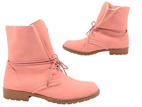 Elara Damen Stiefelette   Bequeme Worker Boots   Blockabsatz Schnürer Pink Rom