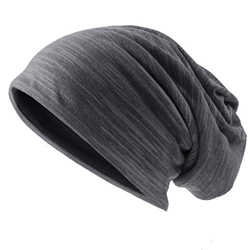 Ruphedy Mens Slouchy Beanie Skull Cap Summer Thin Baggy Oversized Knit Hat B301 (B011h-Grey)