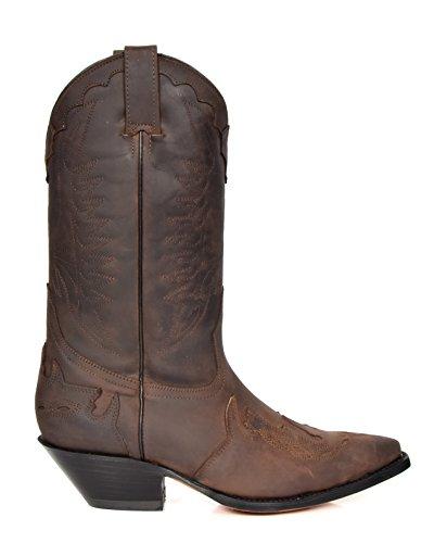 Herren Echte Leder Cowboy Stiefel Western Absatz Wadenlänge Schuhe HLG0AR Braun