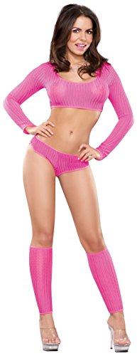 (Exposed Women's Booty Short, Crop Top and Leg Warmer Set (L/X,)