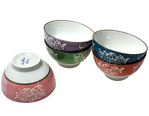 Pink Floral Soup Bowl - JustNile Food Grade Ceramic Serving Bowl Set for Soup Cereal Rice Noodles Salad, Microwavable Dishwasher-Safe, Asian Multi-Color Floral Design, Pack of 5, 12 Ounce Each