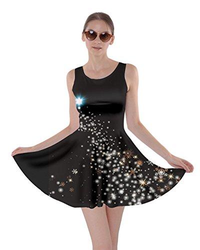 CowCow Womens Flying Stars Starry Night Moon Skater Dress, Black - -