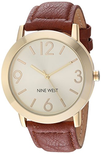 Nine West Women's NW/1772CHHY Gold-Tone and Honey Colored Strap Watch