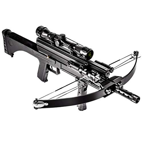 XtremepowerUS Hybrid Crossbow 80 lbs 160 fps Hunting Flashlight Scope Red Light Pointer Combo w/Magazine Capacity + Bag