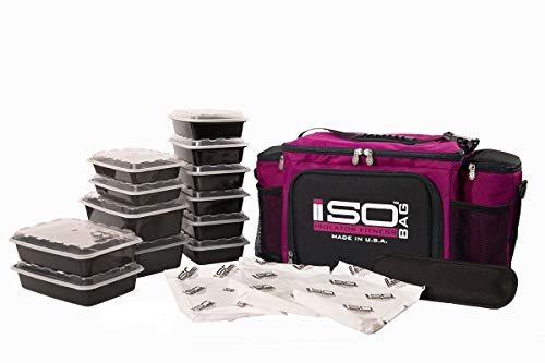 Isolator Fitness 6 Meal ISOBAG Meal Prep Management Insulated Lunch Bag Cooler with 12 Stackable Meal Prep Containers, 3 ISOBRICKS, and Shoulder Strap - MADE IN USA -