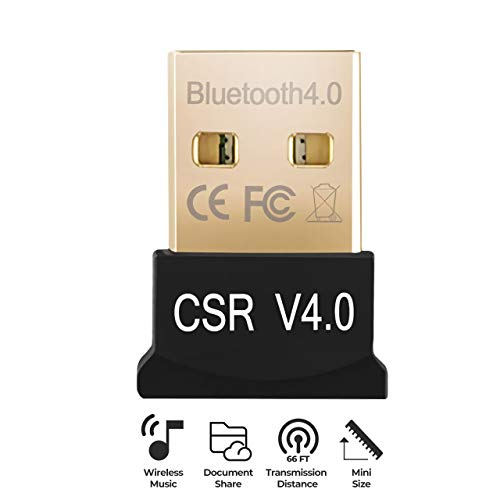 (USB Bluetooth 4.0 Adapter Dongle for PC Laptop Computer Desktop Stereo Music Skype Call Keyboard Mouse Support All Windows XP Vista 7 8 Win 10)