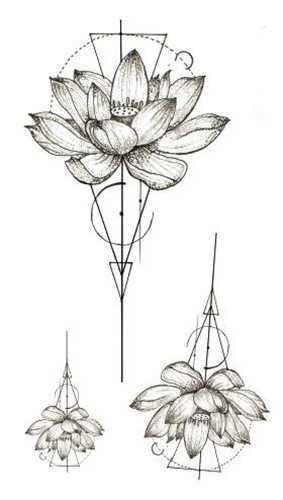 Set of 5 Waterproof Temporary Fake Tattoo Stickers Vintage Geometric Lotus Flowers