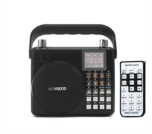XIAOKOA Portable Voice Amplifier With Subwoofer, adjustable reverberation, loud sound, support Audio Input, Voice recorder, FM Radio, Microphone, SD/TF Card, USB, 8watt (F33) (black) - Battery Powered Digital Guitar Amp