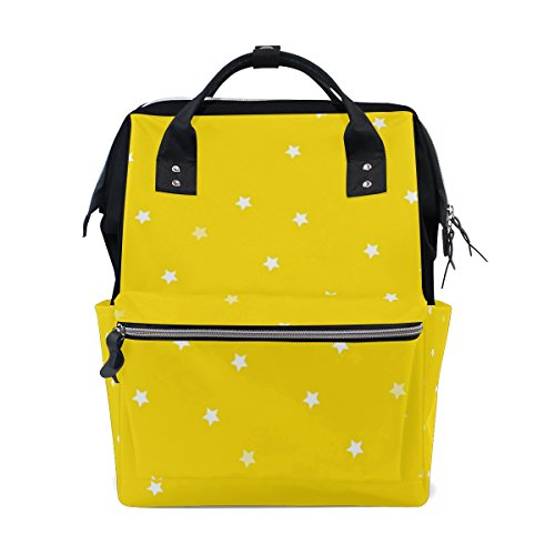 THUNANA Star Pattern Yellow Zipper Travel Large Capacity Baby Diaper Bag School Laptop Canvas Backpack Women by THUNANA