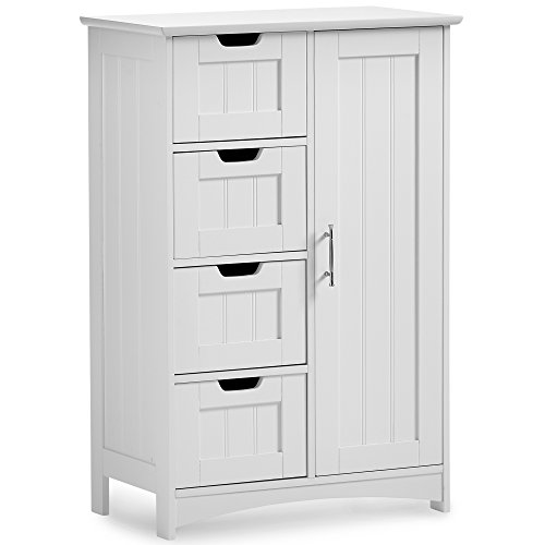 VonHaus Bathroom Floor Cabinet Storage Unit with 4 Drawers and 1 Cupboard - Classic White Furniture with Chrome Handle