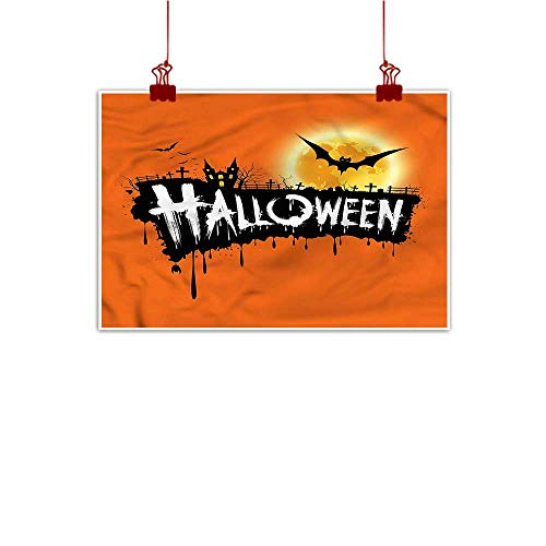(Anzhutwelve Canvas Wall Art Halloween,Spooky Party Bats Festive 24