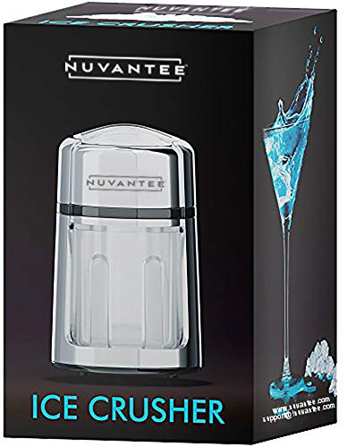 Nuvantee Manual Ice Crusher - Rust-Proof Zinc Alloy Construction - Carbon Steel 430 Blade - Hand Crank Ice Grinder - Fine or Coarse Pieces - Non-Slip Base - Chrome Plated