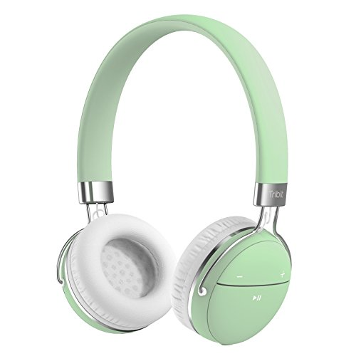 Bluetooth Headphones, Tribit XFree Move Stereo Wireless Headphones with 14 Hours Playtime, 2 Drivers of 40mm in Diameter, Built-in Mic, CSR Bluetooth 4.1 Chips, 3.5mm Aux Support, On Ear, Green