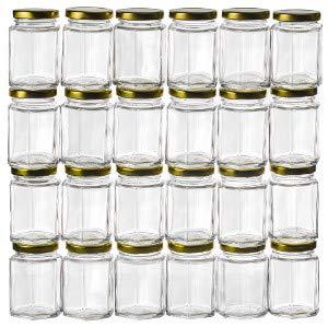 GoJars Hexagon Glass Jars for Gifts, Weddings, Honey, Jams, and More (24, 3oz)