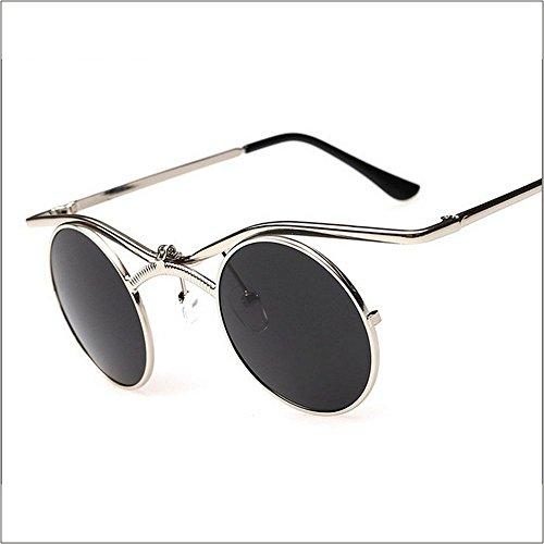 MINCL/Boho Chic Gothic Steampunk Sidestreet Flip-up Round Mirror Lens Metal Frame Sunglasses (silver-black, - Boho Glasses Chic