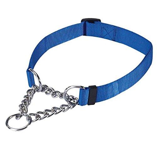 SODIAL Gear Martingale Adjustable Choke-Style Dog Collar Blue