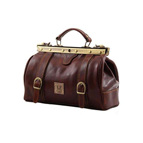 Tuscany Leather - Monalisa - Bolso de doctor en piel con hebillas frontales Marrón - TL10034/1 Negro