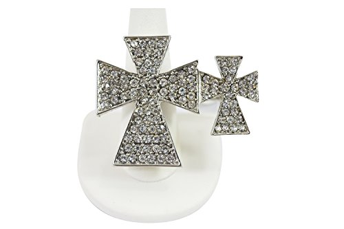 [Gothic Rockabilly Double Iron Cross Sparkling Crystals Cocktail Two Finger Ring] (Gothic China Doll Costume)