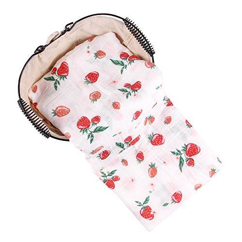 - Anbenser Newborn Baby Blanket Super Soft Bamboo Fiber Allergy-Free Lightweight Toddler Receiving Wrap Swaddle Blanket for Boys Girls 47 X 47 inch Soft Breathable Cotton(Strawberry)