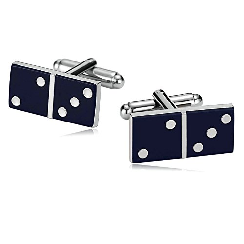 Aooaz Mens Cufflinks Stainless Steel Rectangle Round Blue 2.1X1CM Dad Unique Jewelry Box Fancy Elegant