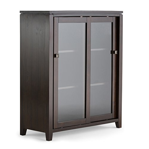 Simpli Home INT-AXCCOS-MED-CF Cosmopolitan Solid Wood 36 inch wide Contemporary Medium Storage Cabinet in Coffee Brown ()