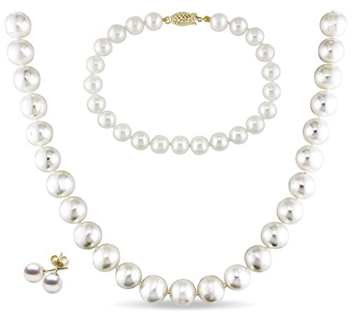 14k Gold, AAA Quality High Luster White Freshwater Cultured Pearl Set (9 10mm)