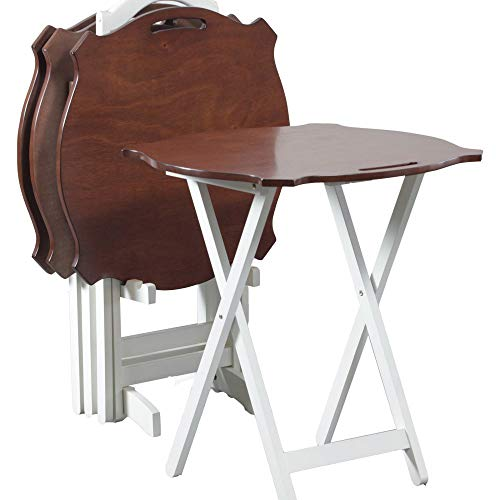 Powell's Furniture 15A8088TT-2 Laptop Folding Modern Tray Table, White with Hazelnut Top,