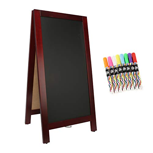 - 4 Thought A-Frame Magnetic Chalkboard Sign 40 x 20 Inches, Classic Wooden Freestanding Sidewalk Sign, Double-Sided Sign Board for Restaurant Shop Wedding Party, Brown