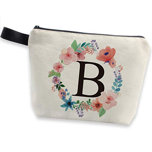 HomeLove Inc. Monogram Letter B Personalized Canvas Makeup Bag for Women, Girls, Daughter, Sister, Birthday Wedding Anniversary Christmas Gifts