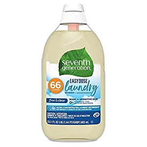 Gut Health Shop 41P4D-NKfGL._SS300_ Seventh Generation Laundry Detergent, Ultra Concentrated EasyDose, Free & Clear, 23 oz, 66 Loads (Packaging May Vary)