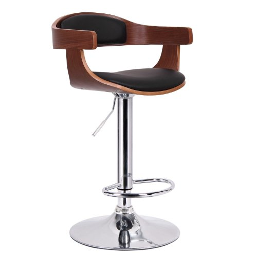 Wholesale Interiors Steel Bar Stool - Baxton Studio Garr Walnut and Black Modern Bar Stool