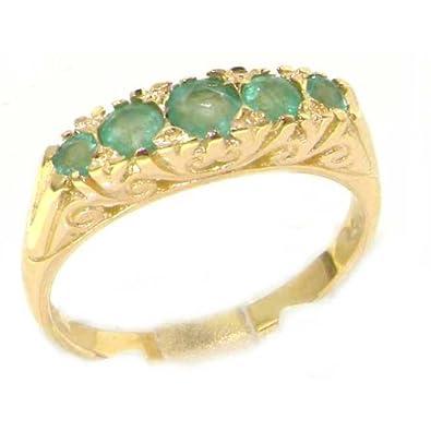 Amazon 18k Yellow Gold Natural Emerald Womens Band Ring