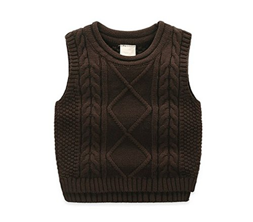 Unisex Baby Boys Girls Cable Knit Sweater Vest Kids Winter Pullover Waistcoat Coffee 110