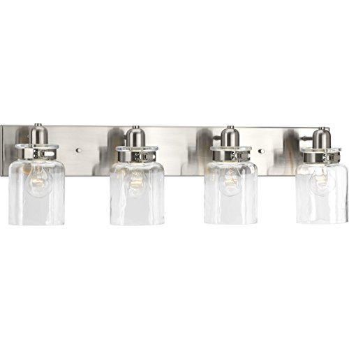 Fixtures Brushed Bathroom Light Nickel (Progress Lighting P300048-009 Calhoun Four-Light Bath and Vanity, Brushed Nickel)
