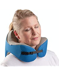 Memory Foam Travel Pillow - Comfortable Support for Neck, Chin, and Head with Detachable Hood and Travel Pouch