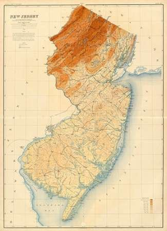 Amazon.com: New Jersey State Map, 1888 by Geological Survey of New ...
