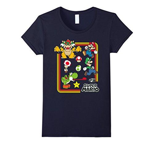 Womens Nintendo Super Mario Character Collage Graphic T-Shirt Medium - Mario Collage
