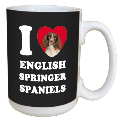 Tree Free Greetings LM45048 I Heart English Springer Spaniels Ceramic Mug with Full-Sized Handle, 15-Ounce