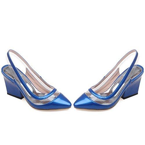 Odomolor Mujeres Sin cordones Puntera Cerrada Tacón Alto Charol Sólido Sandalia de Tacón Azul