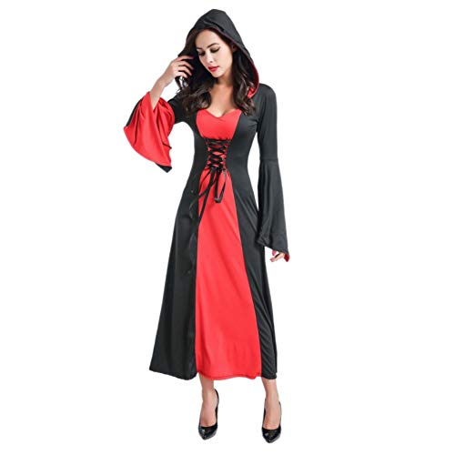 Women Halloween Costume, Ladies Long Dress Evil Retro Queen Hooded Dress for Halloween Party Cosplay Stage -