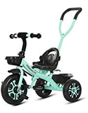 Trike Tricycle Trike Trikes- Kids 3 Wheels, Children Tricycle with Push Handle, Indoor & Outdoor with Storage Bin (Color : Pink) (Color : Blue)