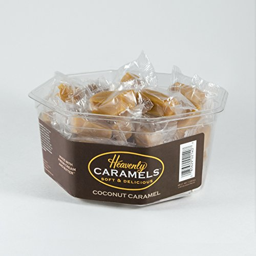 J Morgan Confections Heavenly Caramels, Coconut Flavor (1 lb 2 oz, 45 ct, Single-Pack); Gourmet, Artisan Soft and Chewy Butter Caramel Candies, Creamy and Smooth, Hand-Crafted Golden Treats